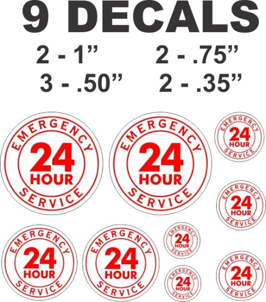 9 Decals Various Sizes 24 Hour Service in Red