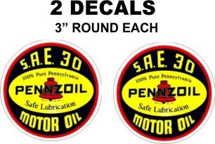 Pennzoil SAE 30 Motor Oil Decals