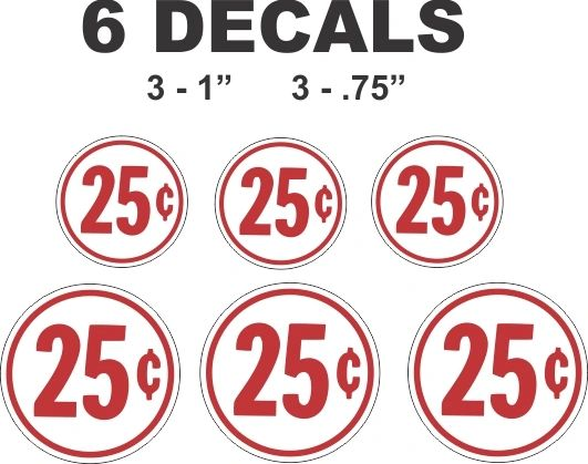 6 Round White Vending Decals 25 cent Gumball Machine and more