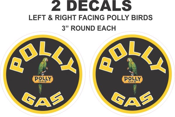 2 Polly Gasoline Decal with left and right facing Polly Birds