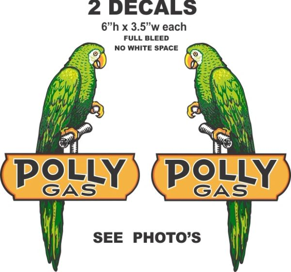 """2 Polly Gas Left and Right Facing Birds 6"""" Tall each - Full Bleed Decals (No White Space)"""