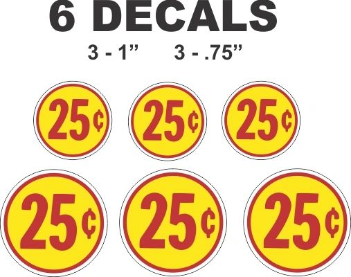 6 Yellow Vending Decals Red 25 cent Gumball Machine and more