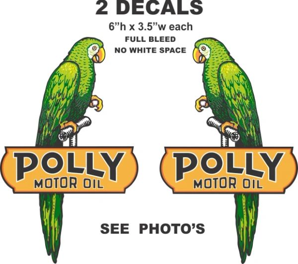 """2 Polly Motor Oil Decals - Left and Right Facing 6"""" Tall Full Bleed (No White Space)"""