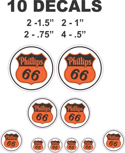 10 Various Size Phillips 66 Gasoline Decals - Great For Scale models or Dioramas