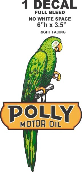 "Polly Motor Oil Right Facing Bird - 6"" Tall Full Bleed (No White Space)"
