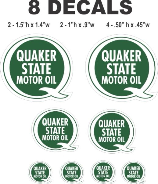 8 Quaker State Motor Oil Decals - Great for Scale Models, Gas / Oil Cans or Dioramas
