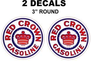 2 Red Crown Gasoline Decals