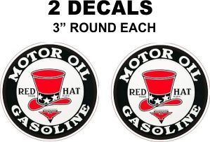 2 Red Hat Motor Oil Gasoline Decals