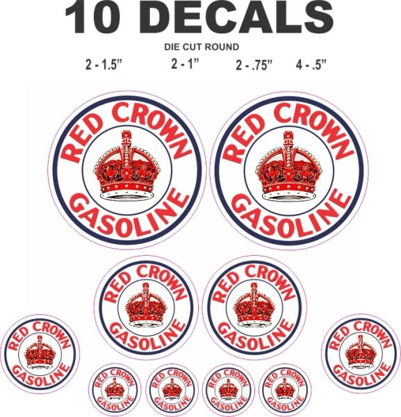 10 Red Crown Gasoline Decals For Gas / Oil cans, Scale Models Dioramas and More!!