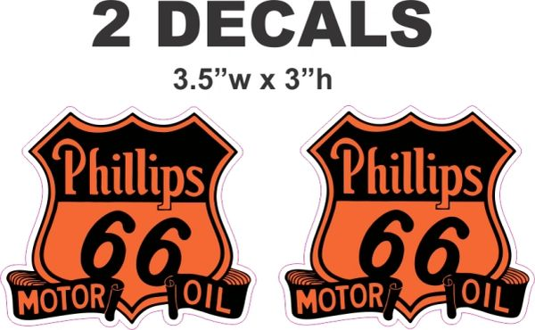 2 Vintage Style Phillips 66 Motor Oil Decals