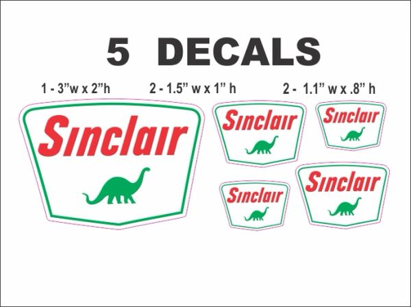 5 Sinclair Dino Decals - Nice!