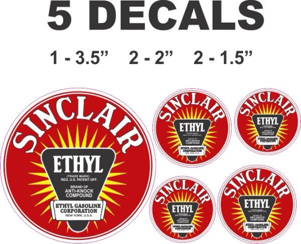 5 Sinclair Red Ethyl Decals - Very Nice