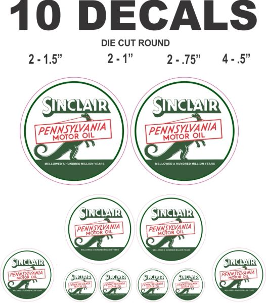 10 Sinclair Pennsylvania Motor Oil Decals - Great For Scale Models, Gas/ Oil Cans or Dioramas