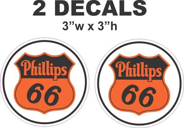 2 Round Phillips 66 Decals