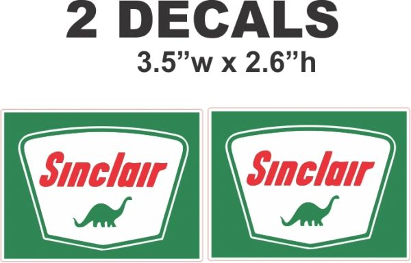 2 Sinclair Dino Square Decals