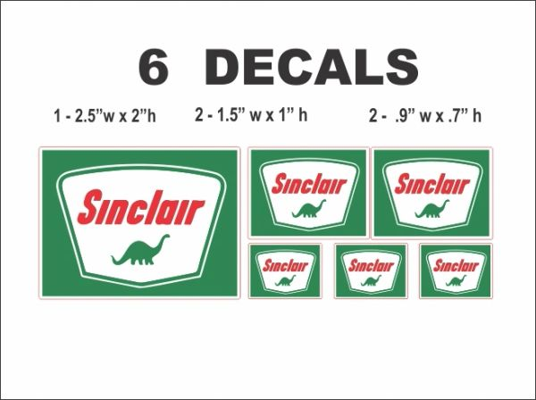 6 Sinclair Dino Gasoline Decals