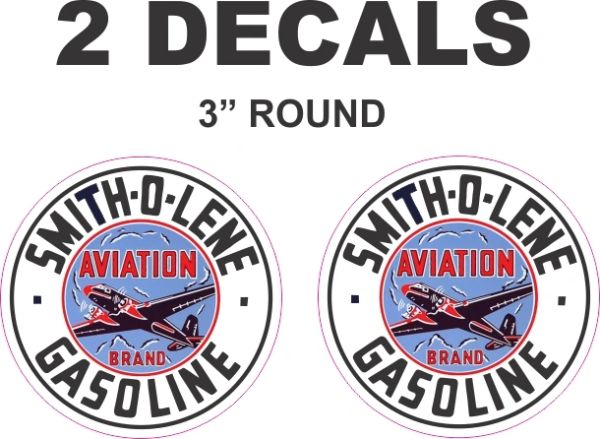 2 Smith-O-Lene Gasoline Decals