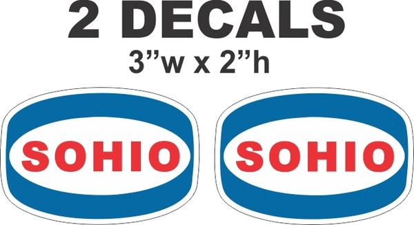 2 Vintage Style Sohio Gasoline Oil Decals