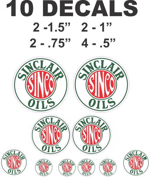 10 Sinclair Sinco Oil Decals