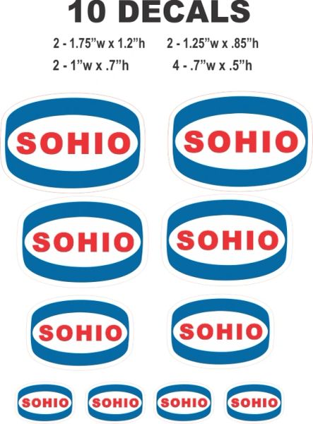 10 Blue Sohio Decals Great for Scale Model, Gas / Oil cans / Dioramas