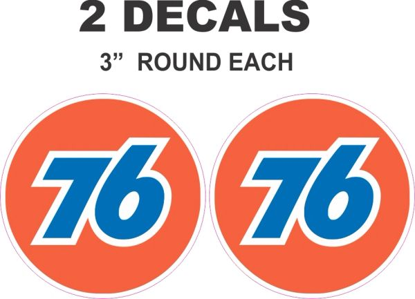 "2 Round Orange 76 Decals 3"" Each"