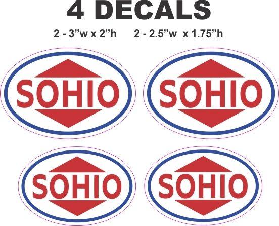 4 Red Sohio Oil Gasoline Decals