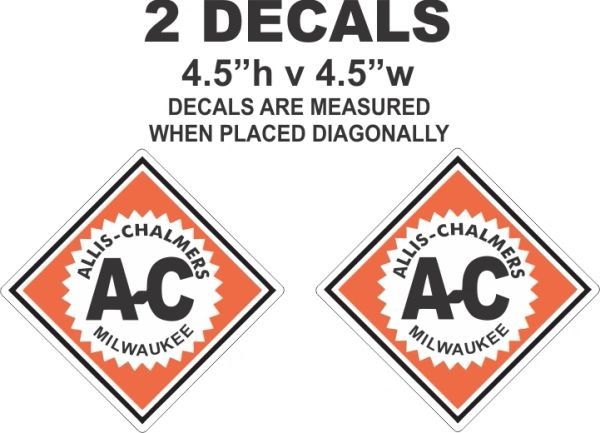2 Allis Chalmers Decals - Very Nice - High Quality
