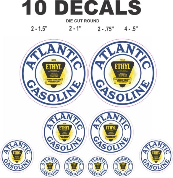 10 Atlantic Gasoline Ethyl - Great For Scale Models, Gas / Oil Cans / Dioramas