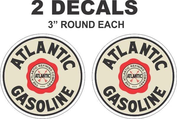 2 Vintage Style Atlantic Gasoline Decals