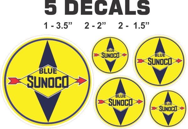 5 Decals Sunoco Blue