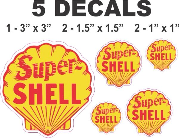 5 Yellow Super Shell Decals - Nice, Die Cut Correctly