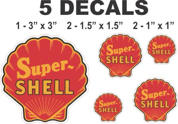 5 Red Super Shell Gasoline