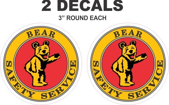 2 Bear Safety Service Decals - Nice