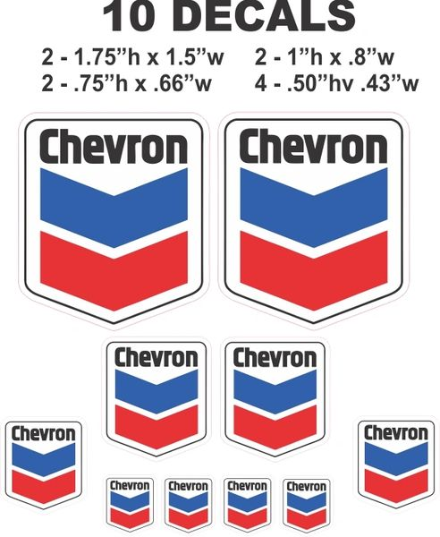 10 Chevron Decals - Great for Scale Models - gas / Oil Cans / Dioramas