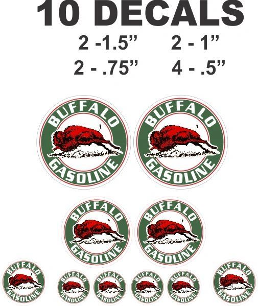 10 Buffalo Gasoline Decals Great for scale model, Gas / Oil Cans - Diorama