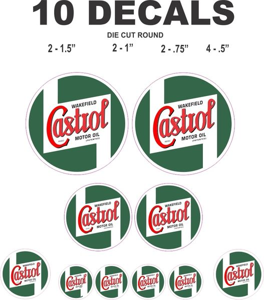 10 Vintage Style Castrol Oil Decals - Great for Scale Models and more