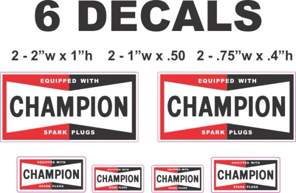 6 Champion Spark Plug Decals - Great for scale models and more
