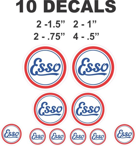 10 Vintage Style Esso Gasoline Decals - Great for any Project