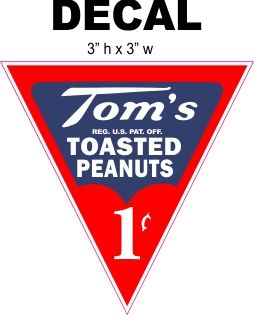 Tom's 1 cent Roasted Peanuts Decals