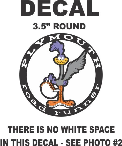 """Road Runner Decal 3.%"""" round, Without Background"""