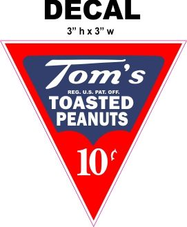 Tom's Roasted Peanuts 10 cents Decals