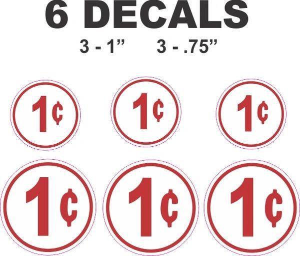 6 Round white 1 cent Decals