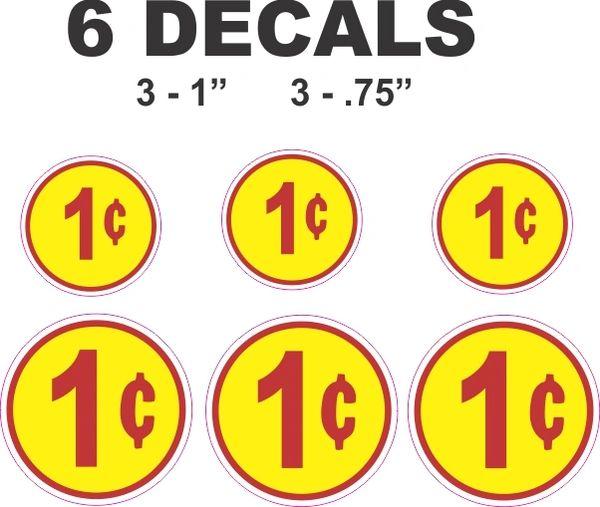 6 Round Yellow 1 Cent Decals