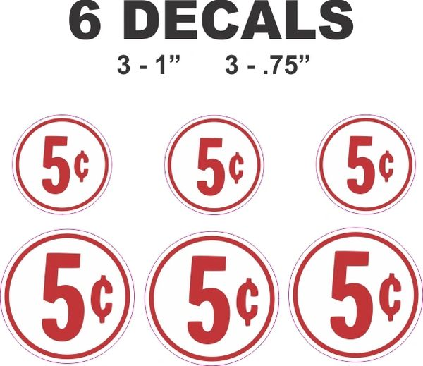 6 Round White 5 Cent Decals