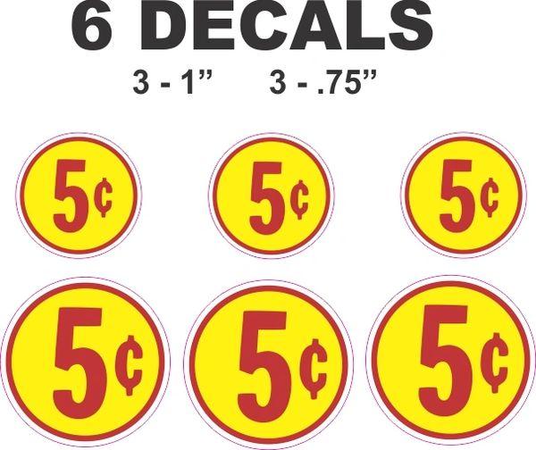 6 Round Yellow 5 Cent Decals