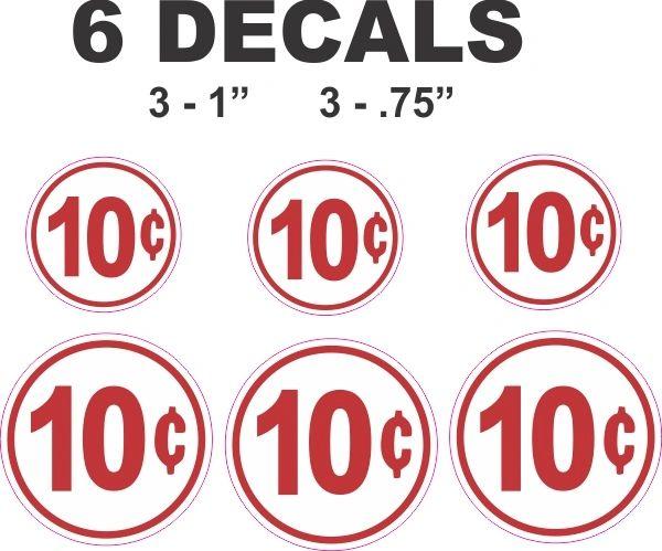 6 Round White 10 Cent Decals