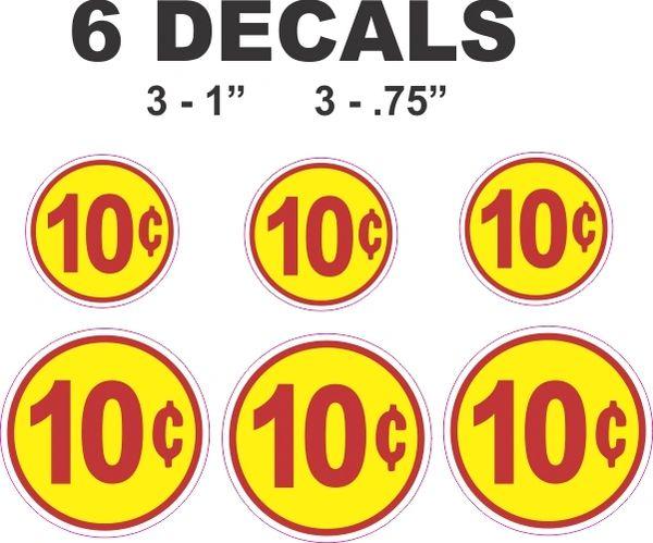 6 Round Yellow 10 Cent Decals