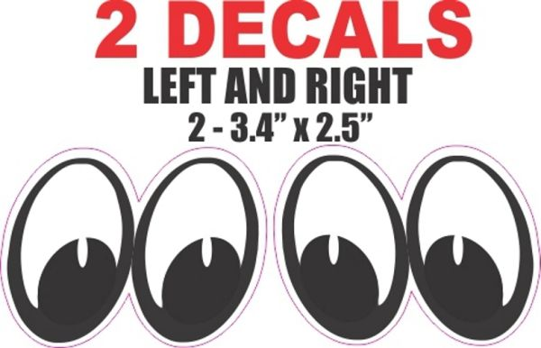 2 Vintage Style White Eyes Decals