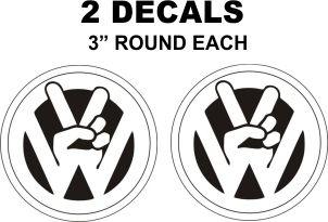 2 VW Peach Sign Decals