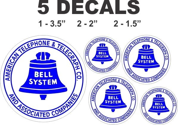 5 Bell System Telephone Decals - Great for any project